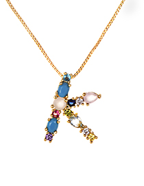 Fashion Multi-color K Shape Design Full Diamond Nekclace