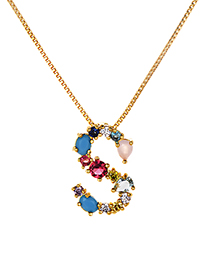 Fashion Multi-color S Shape Design Full Diamond Nekclace