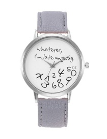 Fashion Gray Letter Pattern Decorated Watch