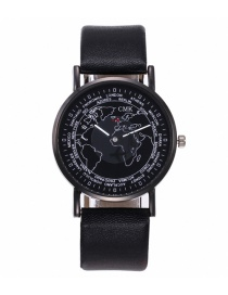 Fashion Black Round Shape Dial Decorated Watch
