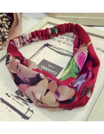 Fashion Red Geranium Pattern Decorated Hair Hoop