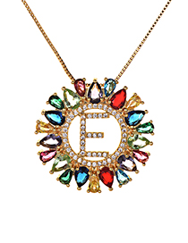 Fashion Multi-color Full Diamond Decorated E Letter Shape Necklace