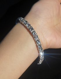 Simple Silver Color Diamond Decorated Bracelet