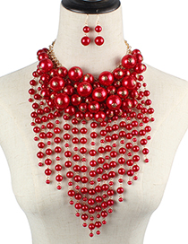 Fashion Red Pearl Decorated Jewelry Set