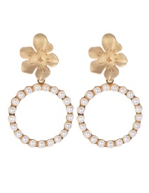 Fashion Gold Alloy Pearl Flower Ring Stud Earrings