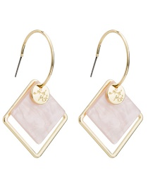 Fashion Pink Square Acetate Plate Earrings