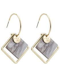 Fashion Dark Gray Square Acetate Plate Earrings