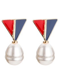 Fashion Red And Blue Triangle Shape Pearl Earrings