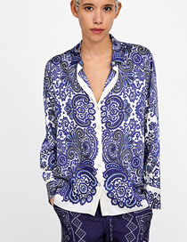 Fashion Blue And White Porcelain Blue And White Porcelain Printed Shirt