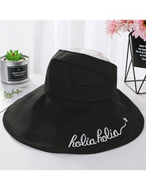Fashion Black Letter Embroidered Empty Top Big Hat