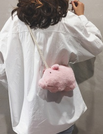 Fashion Pink Plush Pig Crossbody Bag