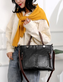 Fashion Black One-shoulder Large Tote Diagonal Bag