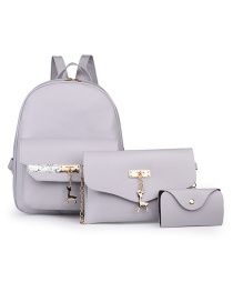 Fashion Gray Three-piece Pure Color Backpack