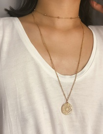 Fashion Gold Openwork Flower Geometric Pendant Double Necklace