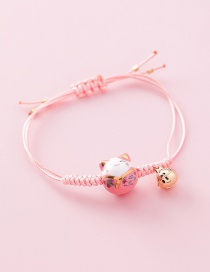 Fashion Woven Large Cat (pink) Weaving Lucky Cat Tassel Bracelet