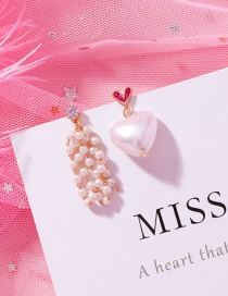 Fashion B White Love Asymmetric Pearl Earrings
