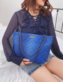 Fashion Blue Rhombic Chain Gradient Shoulder Bag