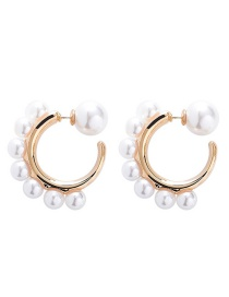 Fashion Gold 925 Silver Pearl C-shaped Earring