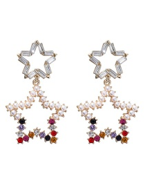 Fashion Gold Double-layer Hollow Five-pointed Star Earrings