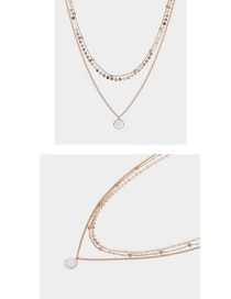 Fashion Gold + White Metal Multilayer Necklace