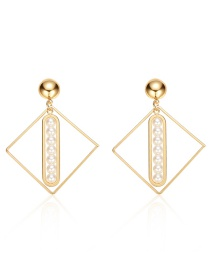 Fashion Gold Alloy Hollow Square Pearl Earrings