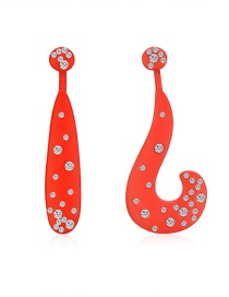 Fashion Red Asymmetric Symbol Diamond Stud Earrings