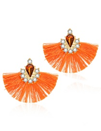 Fashion Orange Alloy Fan-shaped Diamond Tassel Earrings