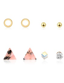 Fashion Gold Triangle Diamond Stud Earrings 4 Pairs