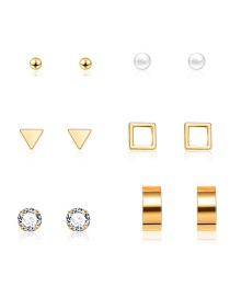 Fashion Gold Geometric Diamond Stud Earrings 6 Pairs