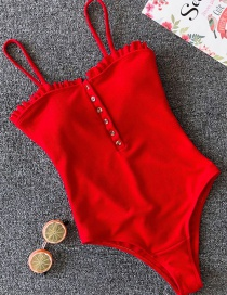 Red Solid Color One-piece Swimsuit Bikini