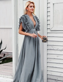 Gray Dress V-neck Ruffled Short Sleeve