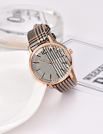 Fashion Beige Plaid Pu Alloy Electronic Element Watch
