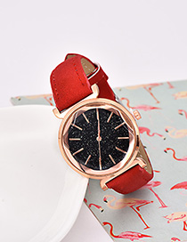 Fashion Red Pu Alloy Electronic Element Hexagon Watch