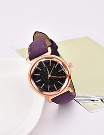 Fashion Purple Pu Alloy Electronic Element Hexagon Watch