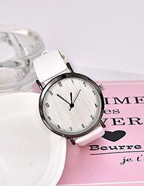 Fashion White Solid Color Pu Alloy Electronic Watch