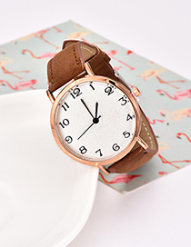 Fashion Brown Pu Alloy Electronic Watch