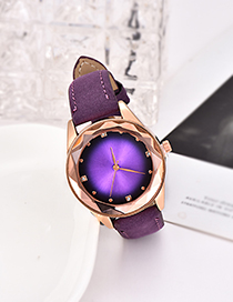 Fashion Purple Pu Diamond-encrusted Alloy Electronic Element Octagonal Watch