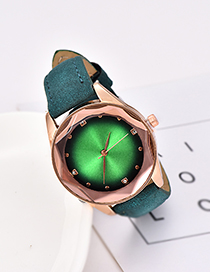 Fashion Dark Green Pu Diamond-encrusted Alloy Electronic Element Octagonal Watch
