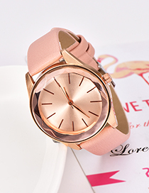 Fashion Pink Solid Color Pu Alloy Electronic Watch