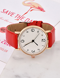 Fashion Red Solid Color Pu Alloy Electronic Watch