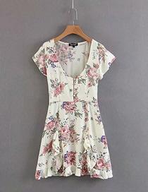 Fashion White Ruffled Floral Short Sleeve V-neck Dress