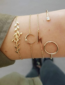 Fashion Gold 4 Piece Leaf Moon Lightning Bracelet Bracelet Set