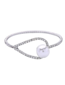 Fashion Silver Alloy Plated Full Diamond Inlaid Pearl Bracelet