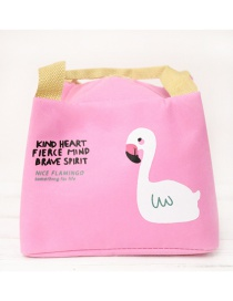 Fashion Pink Flamingo Portable Waterproof Aluminum Foil Thickened Lunch Bag