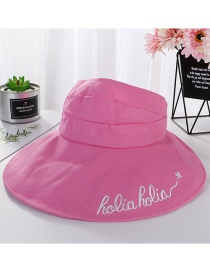 Fashion Rose Powder Empty Top Embroidered Letters Hat