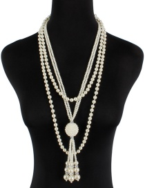 Fashion Milky Pearl Fringed Knotted Necklace