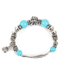 Fashion Silver Fish-shaped Openwork Turquoise Bracelet