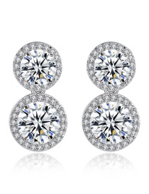 Fashion Transparent Copper Plated White Gold And Zircon Stud Earrings