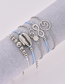 Fashion Blue Alloy Wax Rope Shell Bracelet Combination