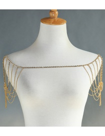 Fashion Gold Alloy Plated Multi-layer Tassel-studded Shoulder Chain